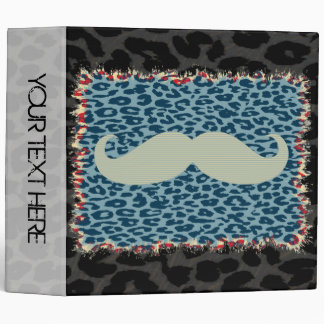 Leopard Print and Funny Mustache 2 3 Ring Binder