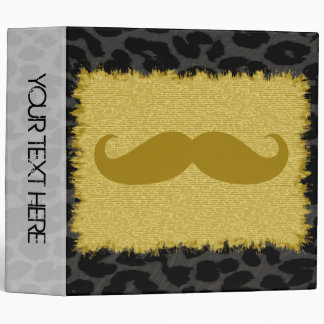 Leopard Print and Funny Mustache 3 Binder
