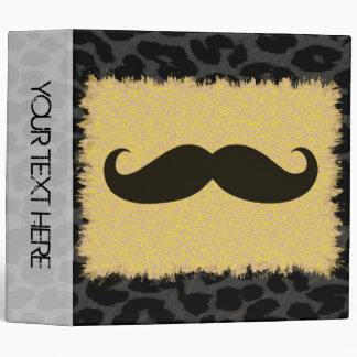Leopard Print and Funny Mustache 5 Binder