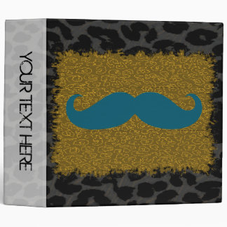 Leopard Print and Funny Mustache 6 3 Ring Binder