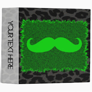 Leopard Print and Green Funny Mustache Binders
