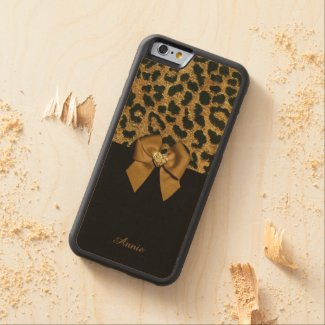 Leopard Print and Jewelled Bow Carved® Maple iPhone 6 Bumper