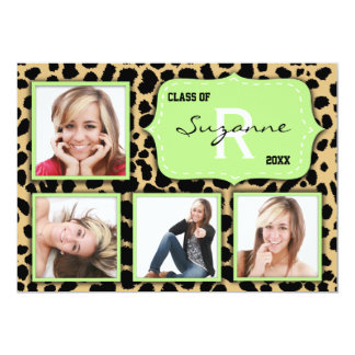 Leopard Print And Mint Accent Party Photo Invite