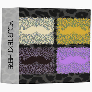 Leopard Print and Mustaches 3 Ring Binder