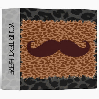 Leopard Print and Mustaches Binder