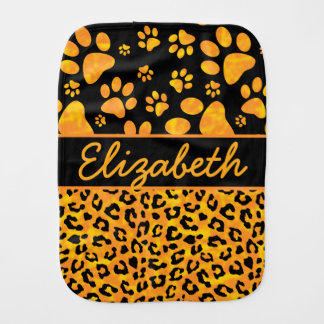Leopard Print and Paws Orange Yellow Personalized Burp Cloth