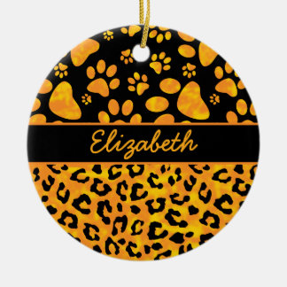 Leopard Print and Paws Orange Yellow Personalized Double-Sided Ceramic Round Christmas Ornament