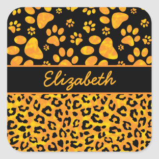 Leopard Print and Paws Orange Yellow Personalized Square Sticker