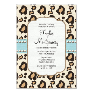 "Leopard Print and Pearl Birthday Invitation Blue 5"" X 7"" Invitation Card"