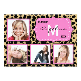 Leopard Print And Pink Accent Party Photo Invite