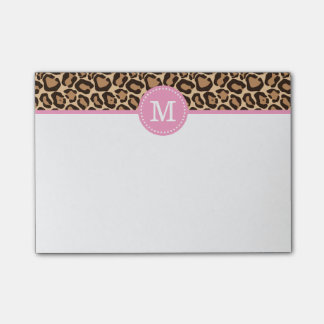 Leopard Print and Pink Custom Monogram Post-it® Notes