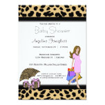 """Leopard Print And Pink Shopping Mommy 5"""" X 7"""" Invitation Card"""