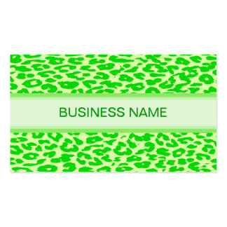 Leopard Print and Plain Lime Green Business Card Template