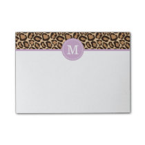 Leopard Print and Purple Custom Monogram Post-it Notes