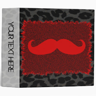 Leopard Print and Red Funny Mustache Binder