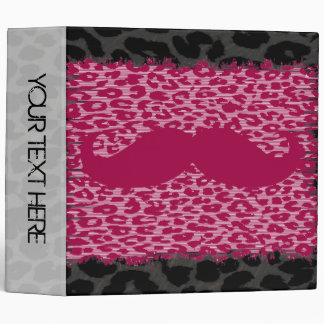 Leopard Print and Red Mustaches 3 Ring Binder