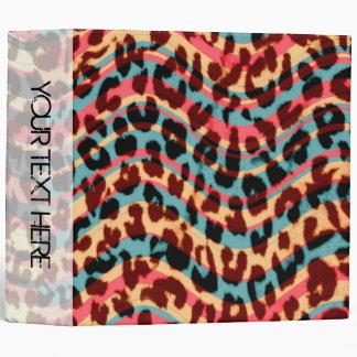 Leopard Print and Retro Wavy Stripes Background Binders