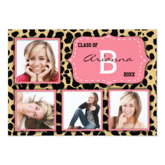 Leopard Print And Salmon Accent Party Photo Invite