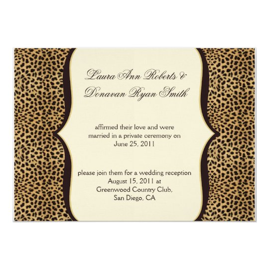 Leopard Print and Scrolls Post Wedding Card