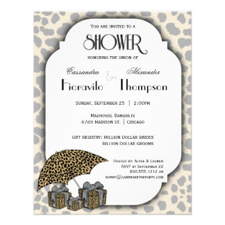 Leopard Print And Silver Accent Shower Invite