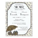 """Leopard Print And Silver Accent Shower Invite 4.25"""" X 5.5"""" Invitation Card"""