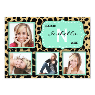 Leopard Print And Teal Accent Party Photo Invite