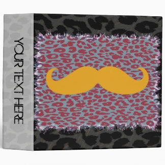 Leopard Print and Yellow Mustaches Binder