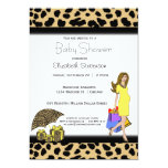 """Leopard Print And Yellow Shopping Mommy 5"""" X 7"""" Invitation Card"""