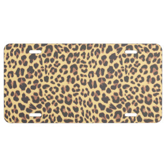 Leopard Print Animal Skin Pattern License Plate