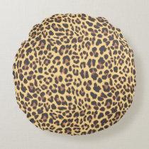Leopard Print Animal Skin Pattern Round Pillow