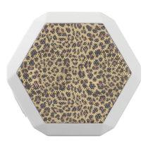 Leopard Print Animal Skin Pattern White Bluetooth Speaker
