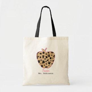 Leopard Print Apple Teacher Budget Tote Bag
