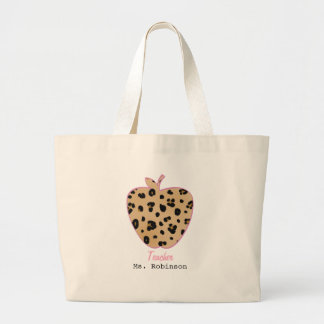 Leopard Print Apple Teacher Large Tote Bag