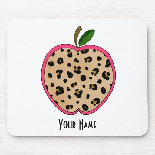 Leopard Print Apple Teacher Mouse Pad