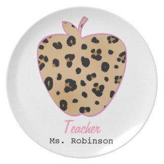 Leopard Print Apple Teacher Dinner Plates