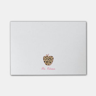 Leopard Print Apple Teacher Post-it Notes