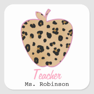 Leopard Print Apple Teacher Square Sticker