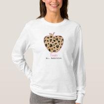 Leopard Print Apple Teacher T-Shirt