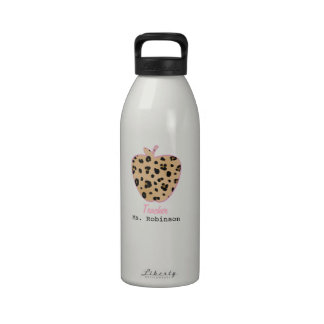 Leopard Print Apple Teacher Water Bottle