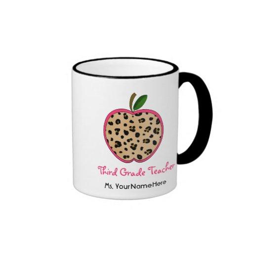 Leopard Print Apple Third Grade Teacher Mug
