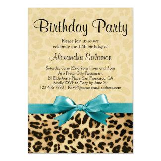 Leopard Print Aqua Blue Bow Girl Birthday Party Card