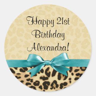 Leopard Print Aqua Blue Bow Girls Womens Birthday Classic Round Sticker