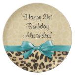 Leopard Print Aqua Blue Bow Girls Womens Birthday Dinner Plate