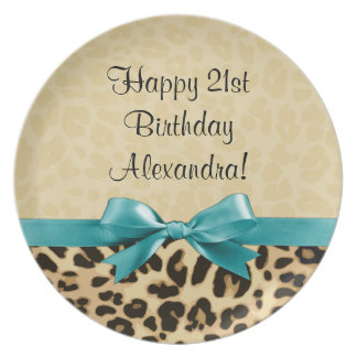 Leopard Print Aqua Blue Bow Girls Womens Birthday Dinner Plate