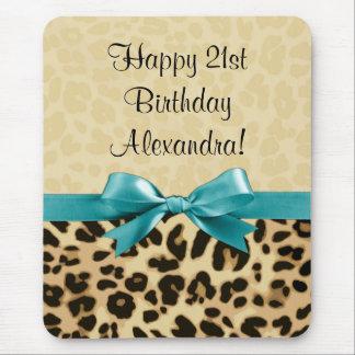 Leopard Print Aqua Blue Bow Girls Womens Birthday Mouse Pad