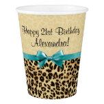 Leopard Print Aqua Blue Bow Girls Womens Birthday Paper Cup