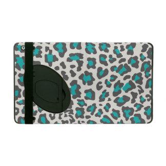 Leopard Print Aqua, Gray, White iPad Folio Cases