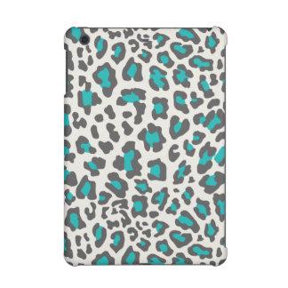 Leopard Print Aqua, Gray, White iPad Mini Retina Cover