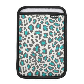 Leopard Print Aqua, Gray, White iPad Mini Sleeve