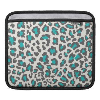 Leopard Print Aqua, Gray, White Sleeves For iPads